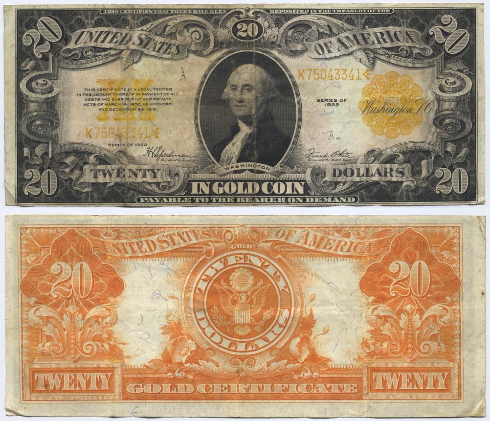 20 Dollars 1922 USA Large Gold Certificate, Washington. Speelman-White Fine-Very Fine