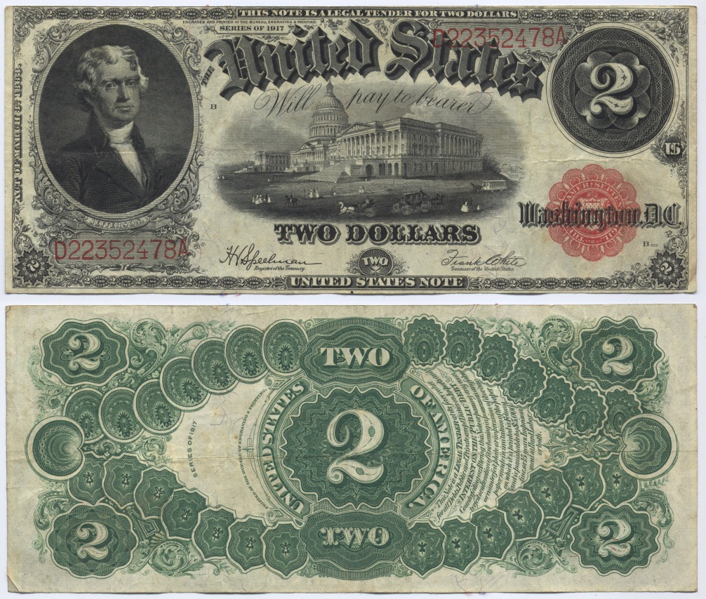 2 Dollars 1917 USA Large United States Note, Jefferson. Speelman-White Very Fine