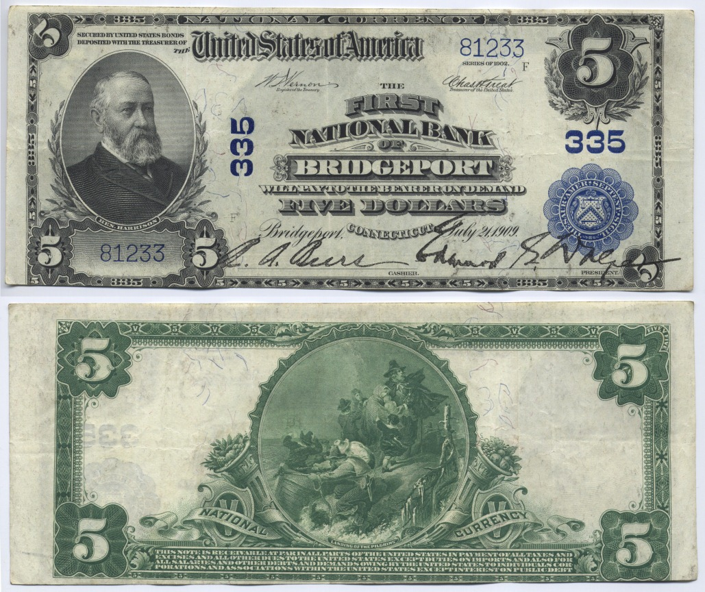 5 Dollars 1902 USA Large National Bank Note, The First National Bank of Bridgeport. Connecticut. Vernon-Treat nearly Extremely Fine