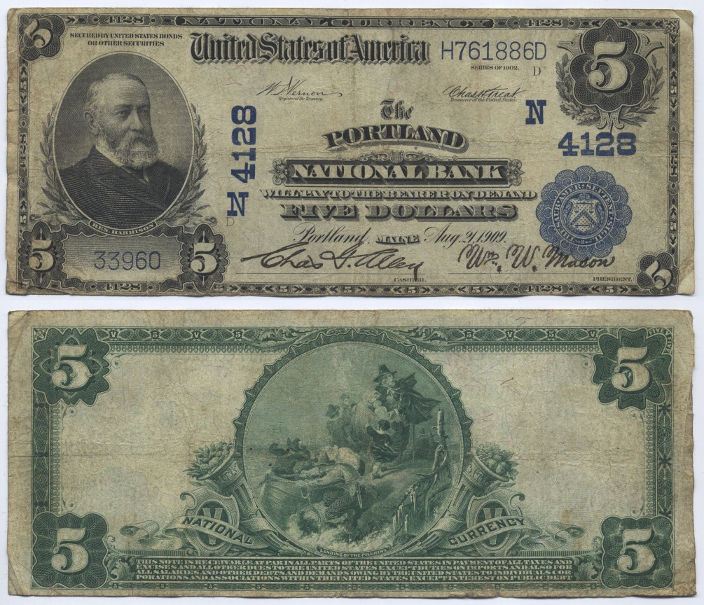 5 Dollars 1902 USA Large National Bank Note, The Portland National Bank, Maine. Vernon-Treat Very Good-Fine