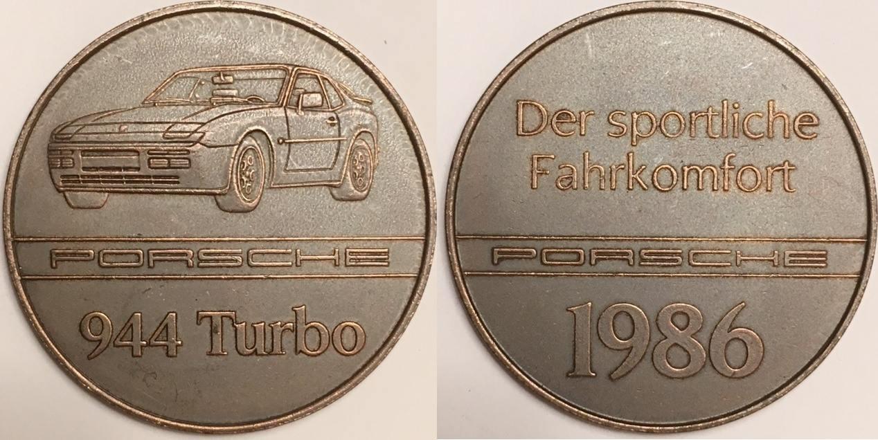 AE Medal / Bronzmedallie 1986 Deutschland / Germany Porsche 944 Turbo