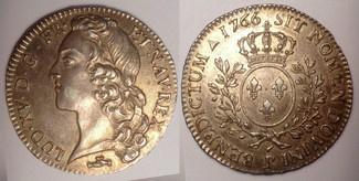 1/2 Ecu / Demi Ecu au Bandeau 1766 P France / Frankreich Louis XV vzgl+