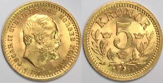 5 kronor 1901 Sweden / Schweden Oskar II MS64 / vzgl-Stgl