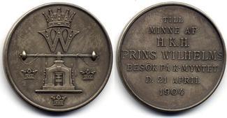 Silbermedaille 1904 Schweden / Sweden Oscar II - Prinz Wilhelm - Muenzbesuch / Mint visit vzgl-Stgl