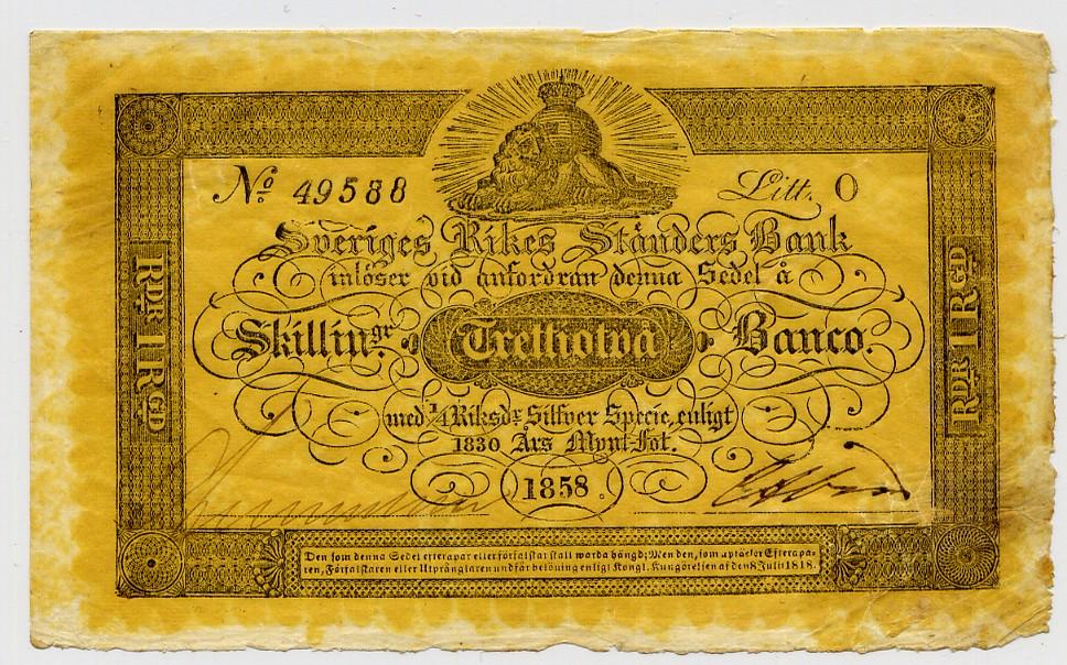 32 skilling banco 1858 sweden schweden sveriges rikes ständer bank
