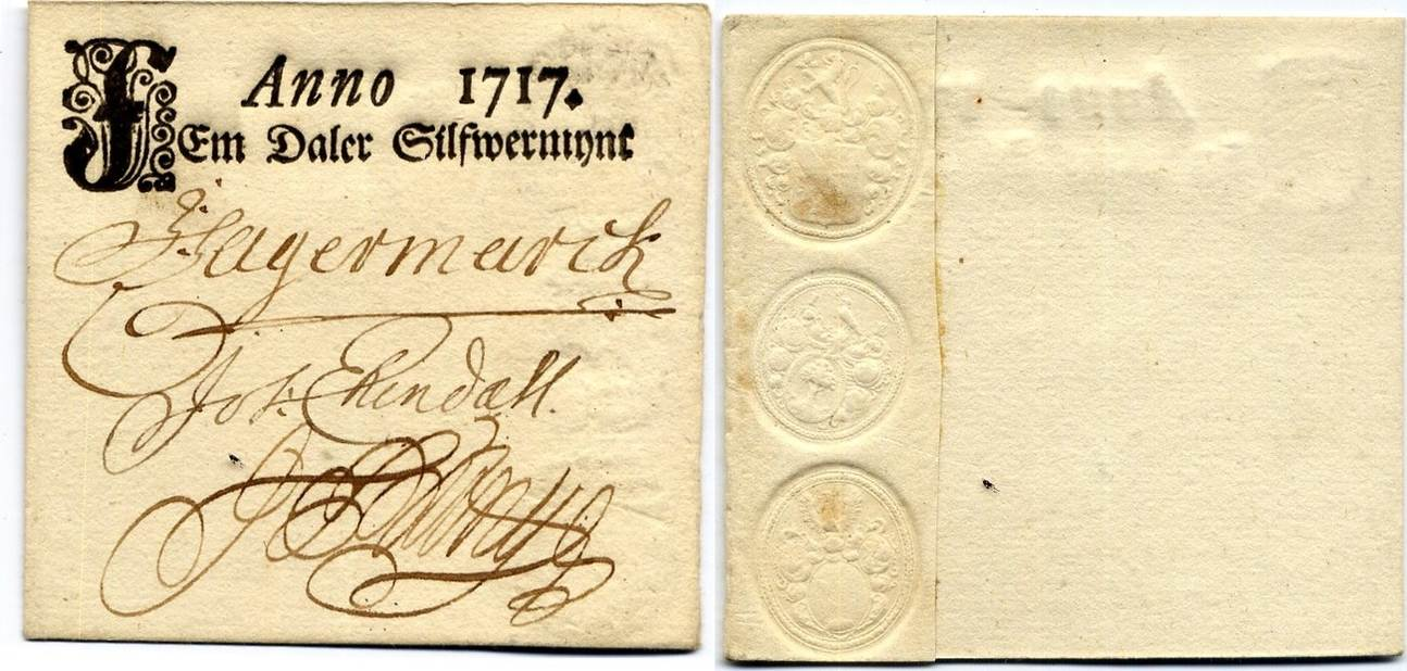 5 Daler SM 1717 Sweden / Schweden Karl XII - War Treasury and Purchasing  Commissions / Kontributionsverket AUNC / fast UNC