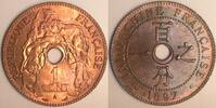 1 cent 1897 French Indo China  feinster Stgl