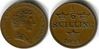 1/6 skilling 1832 Schweden / Sweden Karl X...