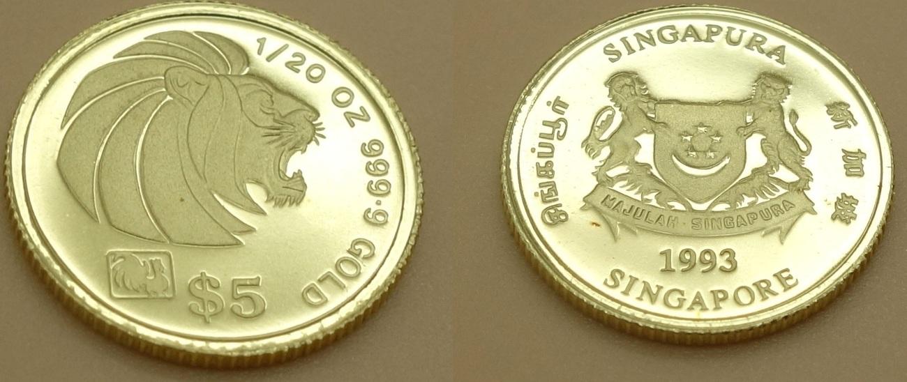 Münze Set 1993 Singapur Münze Set 5 10 25 50 100 Dollars Löwenkopf