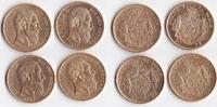 4x 20 Francs 1870,1875,1 Belgien König Leo...