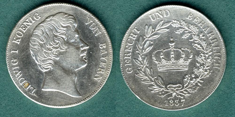 1 Krontaler 1837 Bayern Ludwig I. VF geputzt