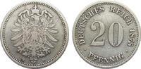 20 Pfennig 1875 H Kaiserreich  Wertseite L...