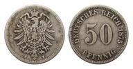 50 Pfennig 1875 H Kaiserreich  fast sehr s...