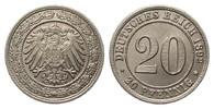 20 Pfennig 1892 G Kaiserreich  min. Randfehler, fast Stempelglanz  395,00 EUR free shipping