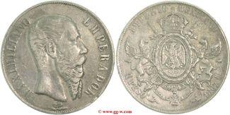 1 Peso 1867 Mexiko Mexiko  Maximilian 1864 - 1867 sehr schön