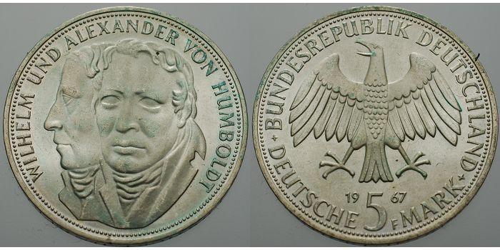 5 Dm 1967 Deutschland Bundesrepublik Humbold Wilhelm Und Alexander