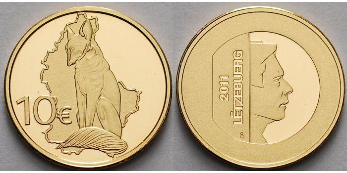 10 Euro3,11gfein16 mm Ø 2011 Luxemburg Renert, (Fuchs) inkl. Etui & Zertifikat & Schuber ProofEtui & Zertifikat