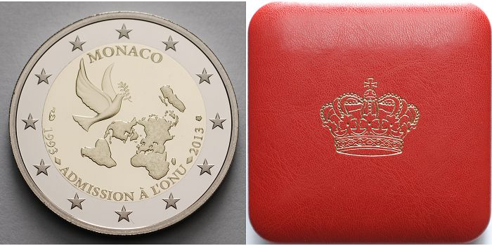 2 Euro 2013 Monaco 20 Jahre UN Mitgliedschaft 1993-2013 <b> inkl ...