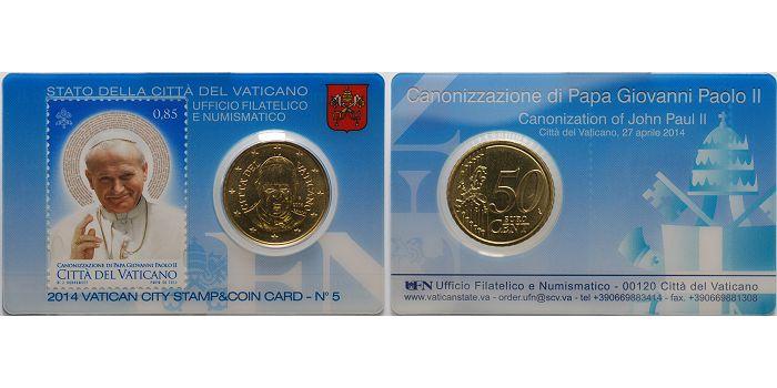 50 Cent 2014 Vatikan Kursmünze 50 Cent In Originaler Vatikan City