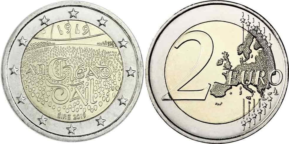 Jahrestag.2 Euro 2019 Irland 100 Jahrestag Versammlung Dail Eireann 1919 2019 Rar Ch Unc