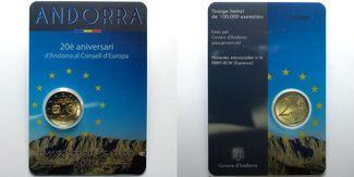 2 Euro 2014  Andorra 20 J. Mitgliedschaft von Andorra im Europarat, Sommerangebot !!! stgl  im  Blister/   Coincard