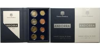 3,88 € 2014  Andorra 1.amtlicher Euro Kursmünzensatz,mit allen 8 Münzen,  sofort lieferbar!!! 1. PP Andorra    im  Etui
