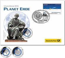 5 Euro 2016 J  Deutschland blauer Planet Erde,Numisbrief Prägestätte J,  lieferbar !!!  Numisbrief stgl
