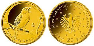 20 Euro  3,89g  fein  17,5 mm Ø 2016  Deutschland Heimische Vögel, Nachtigall,   Prägestätte nach unserer Wahl/lieferbar stgl