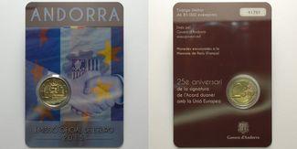 2 Euro 2015  Andorra 25 Jahre Zollunion mit der Europäischen Union (EU), sofort lieferbar !!! stgl  im  Blister/   Coincard