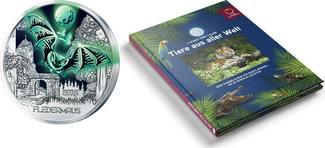 3 Euro + Sammelalbum 2016  Österreich Tier-T. -Serie-Fledermaus-, 01/12 + Sammelalbum,sofort lieferbar!!! handgehoben hgh  /    vz / stgl  Silber  farbig