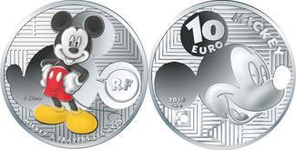 10 Euro  19,98g  fein  37 mm Ø 2016  Frankreich Mickey Mouse i.Wandel d. Zeit, inkl. Kapsel&Zertifikat&Etui, sofort lieferbar PP