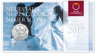 5 Euro 2017  Österreich 150 J.Donauwalzer -Neues Jahr,-Glück,-Schwung,  Neujahrsmünze 2017 - PROSIT 2017 hgh  im   Blister