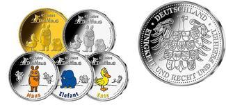 Medaillen x 5 als   Komplettsatz 2016  Deutschland Komplett-Satz mit 5 Ausgaben in Gold u.Silber-i.Album und Kapsel und Zertifikat! PP  mit  Zertifikat