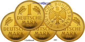 Deutschland 1 Mark<br>5 x 12,00g fein<br>23 mm Ø 2