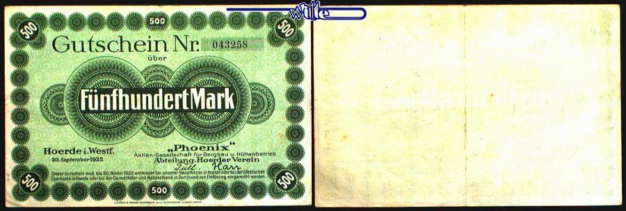 500 Mark 1922.09.20 Hörde Phoenix Aktien Gesellschaft für Bergbau u.Hüttenbetrieb Topp 484.1 gebraucht,