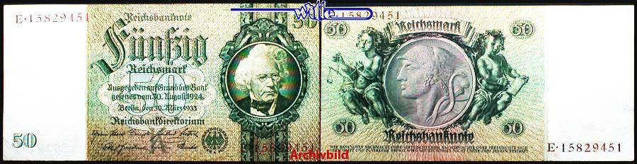 50 Reichs mark 1933 30,03 Deutsches Reich Reichsbank, David Hansemann, / 8 stellig, Ro.175b, C/L aEF
