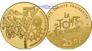 Frankreich 20 Euro, 15,64g  fein 31 mm Ø Tour de France - Zieleinfahrt 1/2 oz. inkl. Etui & Zertifikat & Schuber