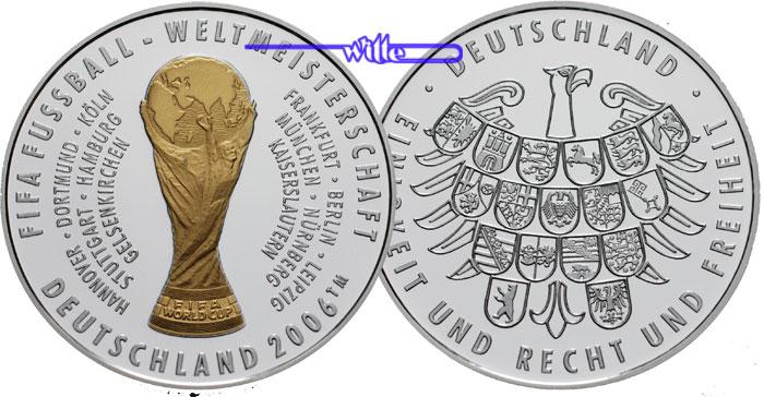 2006 Deutschland Medaille Zur Fussball Wm In Deutschland 2006 Mit Farb Pokal