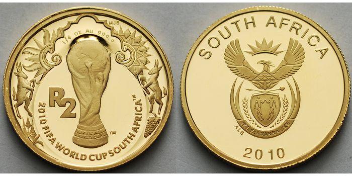 1/4 oz.7,78gfein,2 Rand22 mm Ø 2010 Süd-Afrika Fußball Weltmeisterschaft 2010 in Südafrika, inkl. Kapsel & Zertifikat & Etui Proof