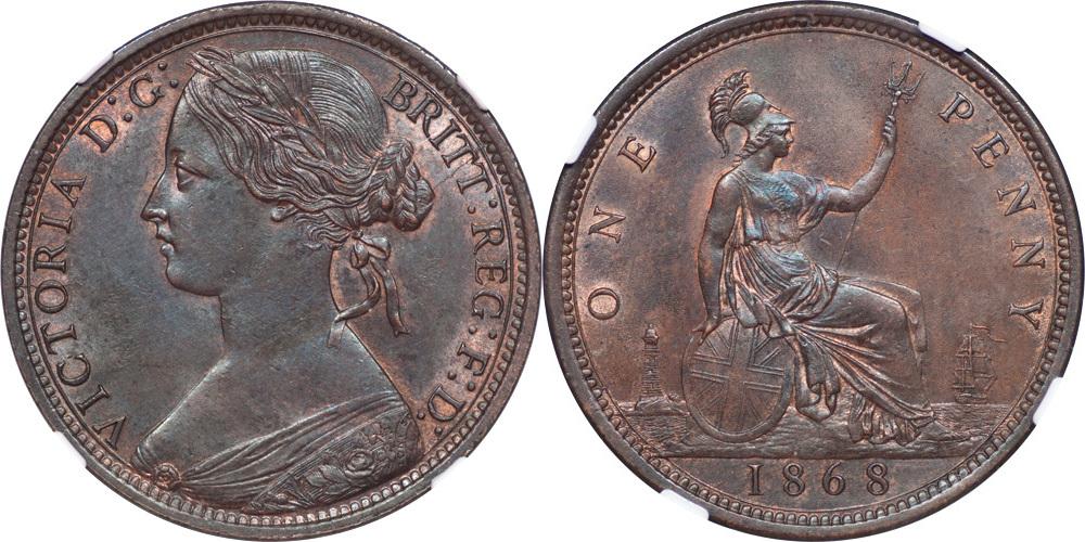 Penny 1868 Great Britail Great Britain 1868 Victoria Bronze