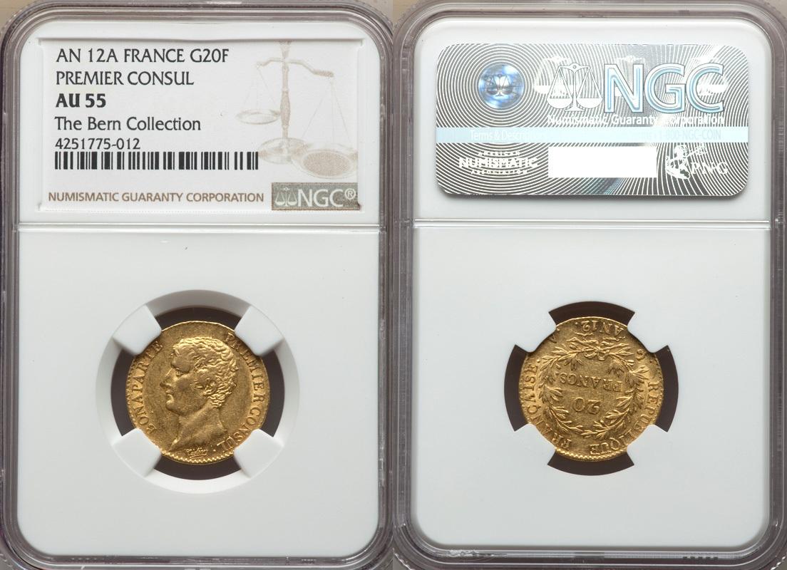 20 Francs 1803 France France AN-12 (1803) Napoleon gold 20 Francs NGC AU-55  AU 55
