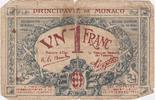 1 Franc 1920 Monaco Blaue Banknote, D-Seri...