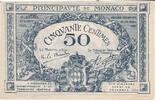 50 centimes 1920 Monaco Blaue Banknote, B-...