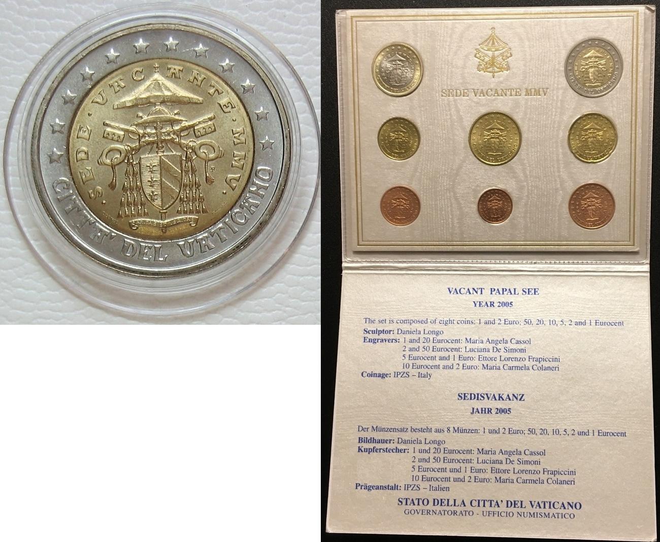 388 2005 Vatikan Original Kursmünzensatz Ch Unc Ma Shops