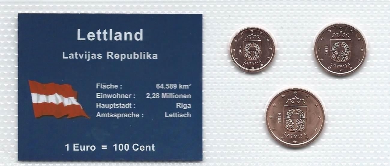 Münzblister 2014 Lettland Lettland Münzsatz Kursmünzen 1 2 5