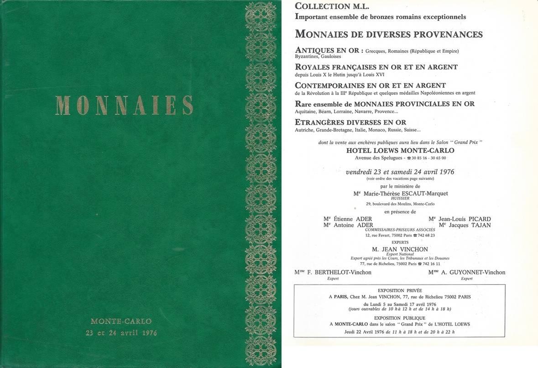 Auktionskatalog 1976 Vinchon Jean Jean Vinchon Monnaies De Diverses