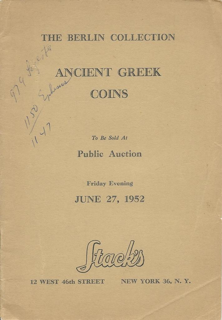Auktionskatalog 1952 Stack's STACK'S THE BERLIN COLLECTION ANCIENT GREEK  COINS PUBLIC AUCTION JUNE 27, 1952 Gut
